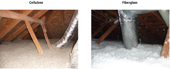 Cellulose and fiber glass insulation